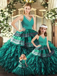 Glamorous Turquoise Backless V-neck Appliques and Ruffles Quinceanera Dress Organza Sleeveless