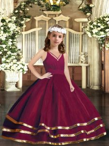 Latest Floor Length Zipper Kids Pageant Dress Burgundy for Party and Wedding Party with Ruffled Layers
