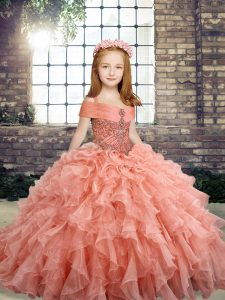 Ball Gowns Kids Formal Wear Peach Straps Organza Sleeveless Floor Length Lace Up
