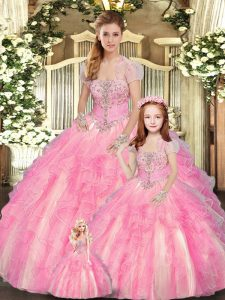 Tulle Strapless Sleeveless Lace Up Beading and Ruffles Quinceanera Gowns in Baby Pink
