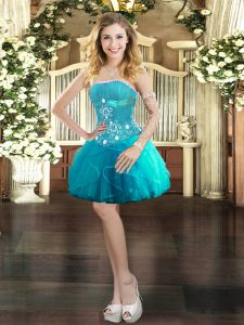 Dazzling Aqua Blue Lace Up Strapless Beading and Ruffles Quinceanera Gown Tulle Sleeveless