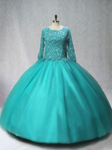 Custom Designed Long Sleeves Beading Lace Up Ball Gown Prom Dress