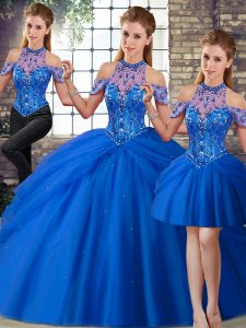 Flirting Blue Three Pieces Tulle Halter Top Sleeveless Beading and Pick Ups Lace Up Vestidos de Quinceanera Brush Train