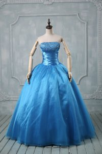 Excellent Baby Blue Sleeveless Beading and Sequins Floor Length Sweet 16 Dress