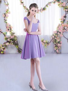 Lavender A-line Straps Cap Sleeves Chiffon Mini Length Zipper Ruching Quinceanera Court Dresses