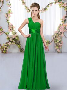Edgy Sleeveless Floor Length Belt Lace Up Damas Dress with Dark Green