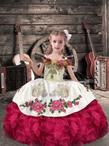 Top Selling Sleeveless Floor Length Beading and Embroidery and Ruffles Lace Up Little Girl Pageant Gowns with Coral Red