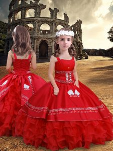 Latest Red Straps Neckline Embroidery and Ruffled Layers Little Girl Pageant Dress Sleeveless Zipper