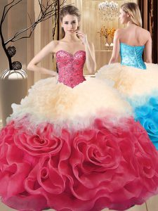 Romantic Ball Gowns Vestidos de Quinceanera Red Sweetheart Fabric With Rolling Flowers Sleeveless Floor Length Lace Up