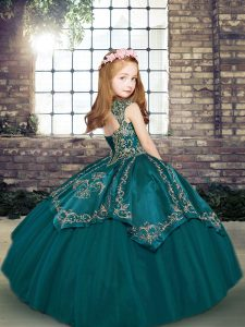 Admirable Eggplant Purple and Purple Lace Up Girls Pageant Dresses Embroidery Sleeveless Floor Length