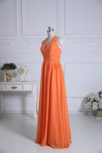 Flirting Orange Chiffon Zipper Halter Top Sleeveless Floor Length Quinceanera Court of Honor Dress Ruching