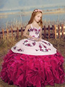 Glorious Hot Pink Ball Gowns Straps Sleeveless Organza Floor Length Lace Up Embroidery and Ruffles Pageant Gowns For Girls