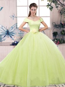 Classical Yellow Green Ball Gowns Lace and Hand Made Flower Quinceanera Gown Lace Up Tulle Short Sleeves Floor Length