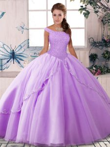 Off The Shoulder Sleeveless Sweet 16 Dresses Brush Train Beading Lavender Tulle