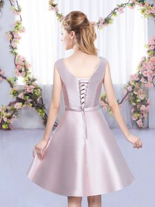 Satin V-neck Sleeveless Lace Up Bowknot Quinceanera Court Dresses in Baby Pink