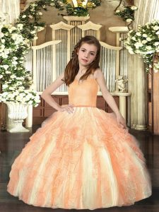 Orange Little Girls Pageant Gowns Party and Sweet 16 and Wedding Party with Ruffles Straps Sleeveless Lace Up
