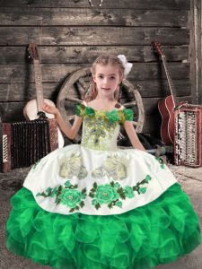 Best Green Off The Shoulder Neckline Beading and Embroidery and Ruffles Pageant Gowns For Girls Sleeveless Lace Up