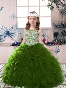 Admirable Olive Green Organza Lace Up Pageant Gowns Sleeveless Floor Length Beading and Ruffles