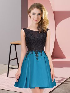 Hot Selling Teal Satin Zipper Quinceanera Court of Honor Dress Sleeveless Mini Length Lace