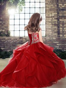 Beading Pageant Gowns For Girls Orange Lace Up Sleeveless Floor Length