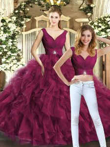Elegant Burgundy Backless Sweet 16 Dresses Beading and Ruffles Sleeveless Floor Length