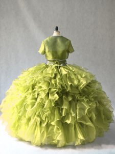 Chic Ball Gowns Sweet 16 Quinceanera Dress Olive Green Scoop Organza Sleeveless Floor Length Lace Up