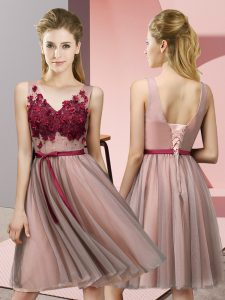 New Arrival Sleeveless Knee Length Appliques Lace Up Quinceanera Dama Dress with Baby Pink