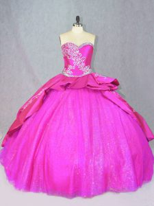 Hot Sale Lace Up Vestidos de Quinceanera Hot Pink for Sweet 16 and Quinceanera with Beading and Embroidery Court Train