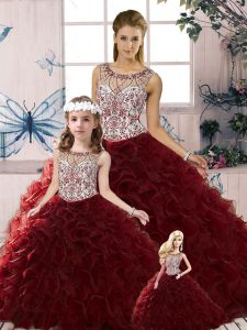 Charming Floor Length Burgundy Quinceanera Gown Organza Sleeveless Beading and Ruffles
