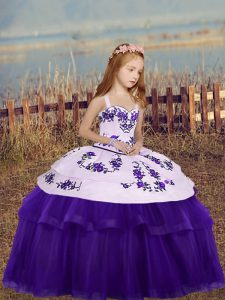 Floor Length Side Zipper Little Girl Pageant Dress Eggplant Purple for Party and Wedding Party with Embroidery