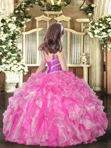 Charming Ball Gowns Little Girl Pageant Gowns Orange Red Straps Organza Sleeveless Floor Length Lace Up