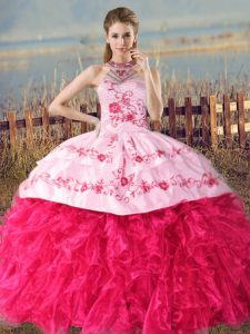 Fantastic Organza Sleeveless Sweet 16 Dresses Court Train and Embroidery and Ruffles