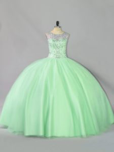 Sleeveless Tulle Floor Length Lace Up 15th Birthday Dress in Apple Green with Sequins