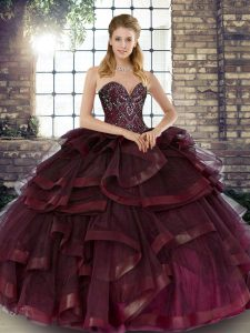 High Class Floor Length Burgundy Vestidos de Quinceanera Sweetheart Sleeveless Lace Up
