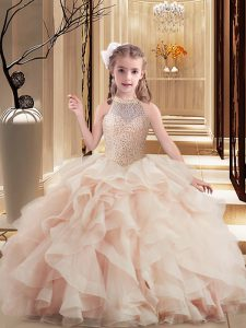 Stunning Pink Little Girl Pageant Dress Party and Sweet 16 and Wedding Party with Beading High-neck Sleeveless Brush Train Lace Up
