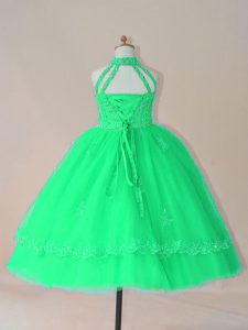 Turquoise High-neck Lace Up Beading and Appliques Little Girl Pageant Gowns Sleeveless