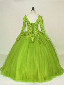 Olive Green Side Zipper Quinceanera Dresses Lace and Appliques Long Sleeves