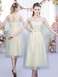 Fashionable Champagne Empire Scoop Sleeveless Tulle Tea Length Lace Up Lace and Belt Dama Dress