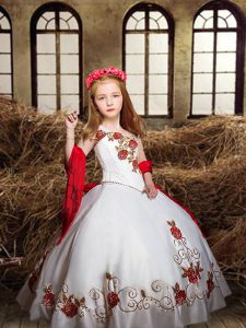 Sleeveless Embroidery Lace Up Kids Formal Wear
