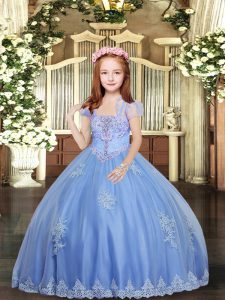 Custom Design Baby Blue Straps Lace Up Appliques Little Girls Pageant Dress Wholesale Sleeveless