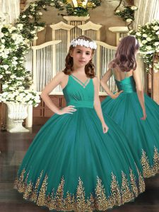 Beautiful Sleeveless Floor Length Embroidery Backless Sweet 16 Dresses with Turquoise