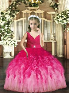 Customized Floor Length Backless Pageant Gowns For Girls Hot Pink for Party and Sweet 16 and Wedding Party with Beading and Ruffles