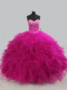Fuchsia Ball Gowns Sweetheart Sleeveless Tulle Floor Length Lace Up Beading and Ruffles Sweet 16 Dress