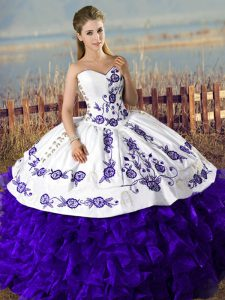 Floor Length Purple 15 Quinceanera Dress Satin and Organza Sleeveless Embroidery