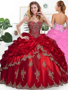 Wine Red Lace Up Sweetheart Beading and Appliques and Pick Ups 15 Quinceanera Dress Organza Sleeveless