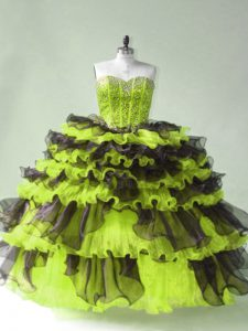Sumptuous Yellow Green Ball Gowns Organza Sweetheart Sleeveless Beading Lace Up Sweet 16 Dresses