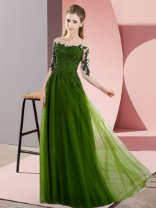 Olive Green Lace Up Bateau Beading and Lace Dama Dress for Quinceanera Chiffon Half Sleeves