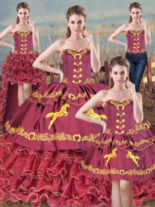 Sleeveless Brush Train Embroidery and Ruffles Lace Up Quinceanera Dresses
