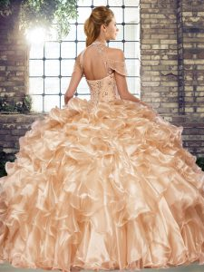 Stylish Fuchsia Sleeveless Floor Length Beading and Ruffles Lace Up Quince Ball Gowns