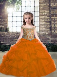 Orange Red Sleeveless Floor Length Beading Lace Up Evening Gowns